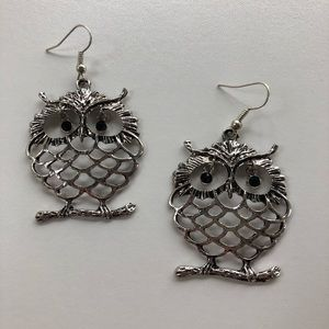 🔮 Owl Earrings Silver with Black Rhinestone Eyes